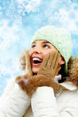 Surprised woman in winter clothes — Stock Photo