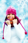 Girl in knitted scarf — Stock Photo