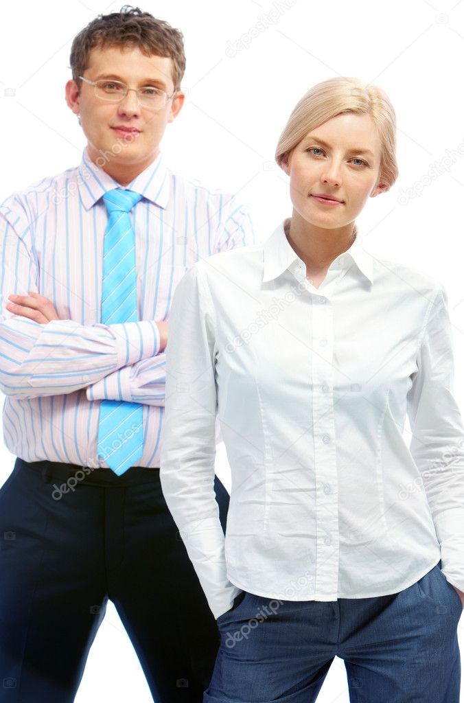 Portrait of successful woman and man standing and looking at camera  Stock Photo #11661862