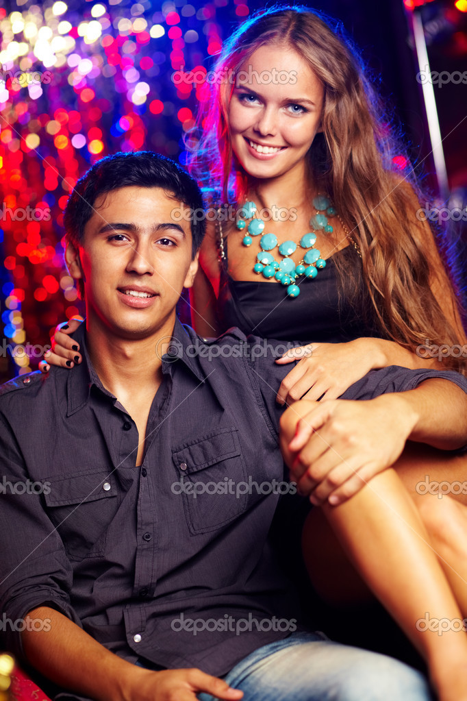 Image of happy couple at party in the night club — Stock Photo #11666191