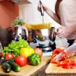 Cutting pepper — Stock Photo