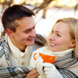 Winter tea-drinking — Stock Photo