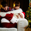 Santa and kids — Stock Photo