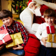 Boys with gifts — Foto Stock