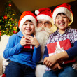 Stock Photo: Boys and Santa
