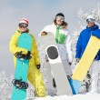 Foto Stock: Three snowboarders