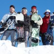 Group of snowboarders — Stockfoto