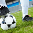 Foot on ball — Foto de Stock
