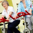 Pensioners in gym — Stock Photo