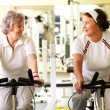 Senior friends in gym - Stock Photo
