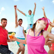 Stock Photo: Dancing on beach