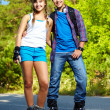 Couple of roller skaters — Stock Photo