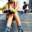 Pretty roller skater - Stock Photo