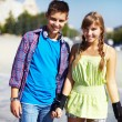 Stock Photo: Youthful roller skaters