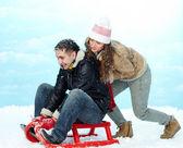 Riding on sledge — Stock Photo