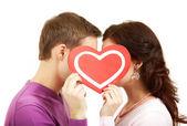 Valentinky líbání — Stock fotografie