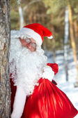 Santa with a sack — Stock Photo