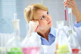 Pensive chemist — Stockfoto