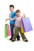Brothers with bags — Stock Photo