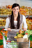 Female with cart — Stock Photo