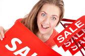 Woman on sale — Stock Photo