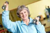 Exercise with barbells — Stock Photo