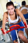 Training on sport equipment — Stock Photo