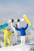 Joyful snowboarders — Stock Photo