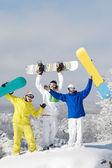 Joyful snowboarders — Stock Photo