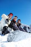 Three snowboarders — Stock Photo