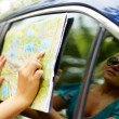 Pointing at map — Stock Photo