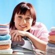 Cheerful housewife - Stock Photo