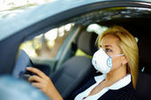 Driving in polluted zone — Stock Photo