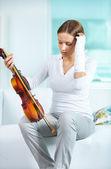 Triste violinista — Foto de Stock