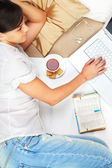 Working in bed — Stock Photo