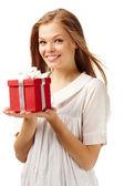 Dziewczyna z prezentem — Zdjęcie stockowe