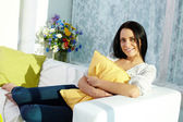 Girl with pillow — Stockfoto