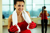 Female in sport gloves — Stock Photo