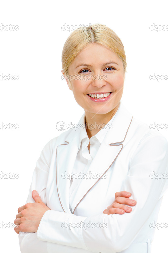 Portrait of a blonde in white suit looking at camera and smiling — Stock Photo #11692066