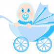 Baby in blue wear sits in pram, vector illustration — Stock Vector
