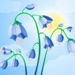 Vector illustration of blue bells on the background of sky — Stock Vector