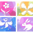 Creative vector illustration of bird, butterfly, flower and bunny — Stock Vector