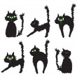 Vector illustration of set of black cats - Stock Vector