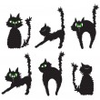 Stock Vector: Vector illustration of set of black cats