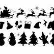 Vector illustration of Christmas silhouettes in lines — Stock Vector