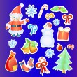 Vector illustration of collection of Christmas stickers — Stock Vector