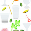Collection of objects required for cocktails - Stock Vector