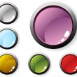 Vector illustration of colorful glossy buttons — Imagens vectoriais em stock