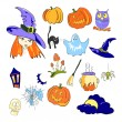Stock Vector: Color elements of Halloween