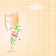 Stock Vector: Wedding glass of champagne